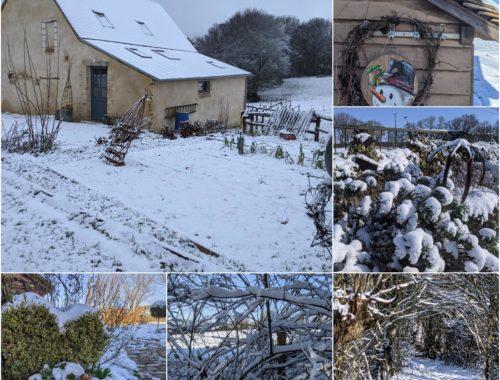La neige autour du Gîte, c'est pas tous les jours en Sarthe